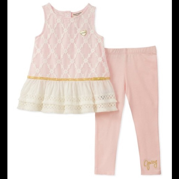 Juicy Couture Light Pink Lace Ruffle Tank/Leggings